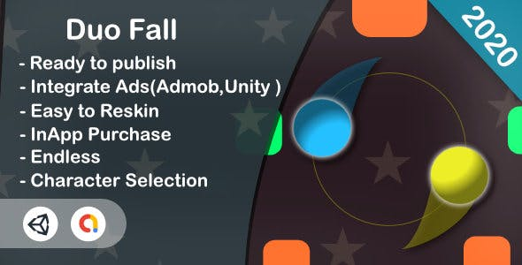 Duo Fall (Unity Game+Admob+iOS+Android)