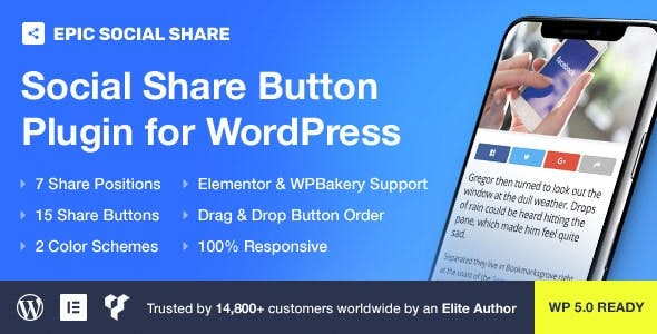 Epic Social Share Button for WordPress & Add Ons for Elementor & WPBakery Page Builder