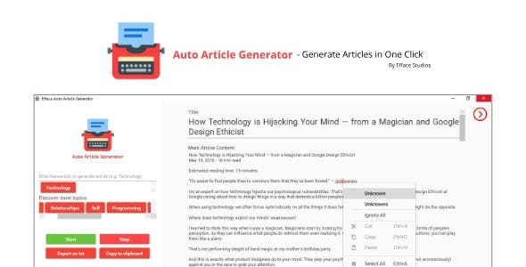 Efface Article Scraper - Scrape articles in one-click