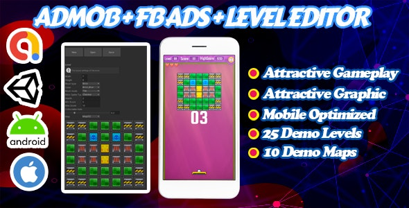 Brick Breaking Game - Admob + Facebook Ads + Level Editor - Ready To Publish - CodeCanyon Item for Sale