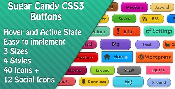 Sugar Candy CSS3 Buttons - CodeCanyon Item for Sale
