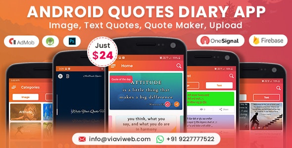 Android Quotes Diary (Image, Text Quotes, Quote Maker, Upload) - CodeCanyon Item for Sale