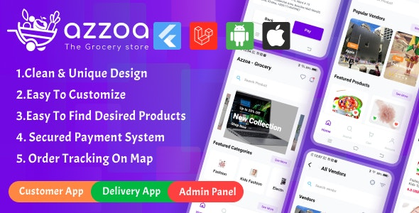 Azzoa - Grocery, MultiShop, eCommerce Flutter Mobile App with Admin Panel - CodeCanyon Item for Sale