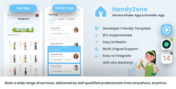 Home Service Finder| Provider| Booking Android + iOS App Template|2 Apps| HTML+CSS IONIC 5 Handyzone