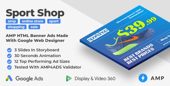 Sport Shop - Shopping Animated AMP Banner Ad Templates (GWD, AMP)