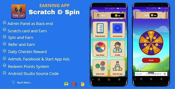 Scratch & Spin to Win Android App with Earning System (Admob, Facebook, Start App Ads)