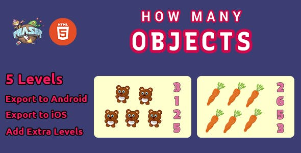 How Many Objects - HTML5 Math Counting Game  - Phaser