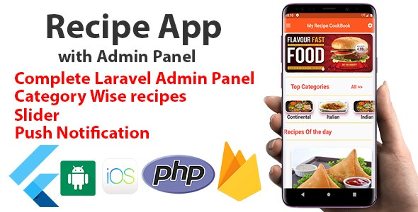 Flutter Food Recipe App with Admin Panel - CodeCanyon Item for Sale