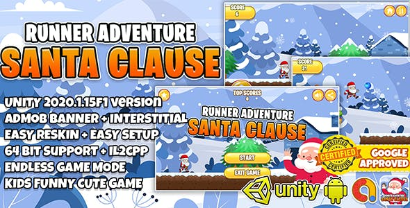 SANTA CLAUSE RUNNER + ADMOB + UNITY 2020 + EASY RESKIN