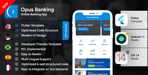Online Banking Android App + Online Banking iOS App Template  Bank App  Opus Banking   Flutter 2
