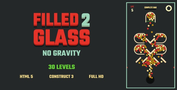 Filled Glass 2 No Gravity - HTML5 Game (Construct3) - CodeCanyon Item for Sale