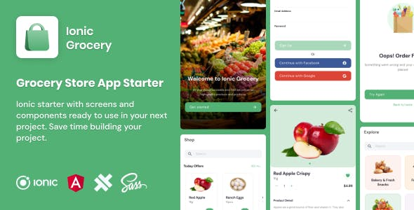 Ionic Grocery | Ionic 5 | Angular | UI Theme | Template App | Starter App & Components