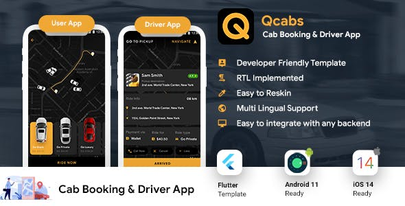 Taxi App | Cab Booking Android + iOS App Template | 2 Apps Rider + Driver | Flutter | Qcabs