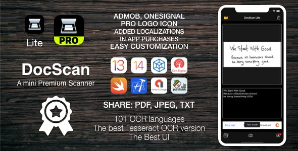 [TS] DocScan - A mini and Powerful mobile scanner for iOS (Admob, IAP, Push Notifications)