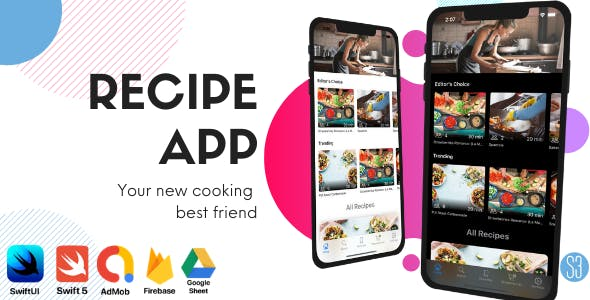 iOS Recipe App Food Book (Chef, Cooking, SwiftUI, iOS 14, iOS App Template, Full iOS App)