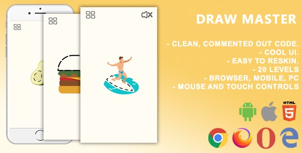Draw Master. Mobile, Html5 Game .c3p (Construct 3) - CodeCanyon Item for Sale