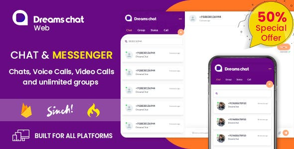 DreamsChat Web - Chat, Audio, Video Web APP with Admin Panel (WhatsApp Clone)