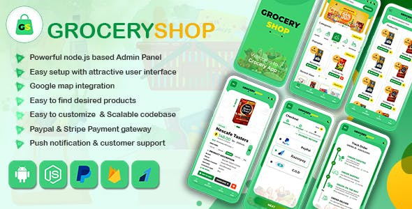 GroceryShop, Grocery, Food, E-commerce Application with Node.js Backend