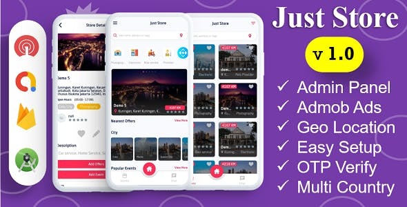 Just Store App | Store Near By Home | Admob Ads | Push Notification | Near By Store | OTP Verify