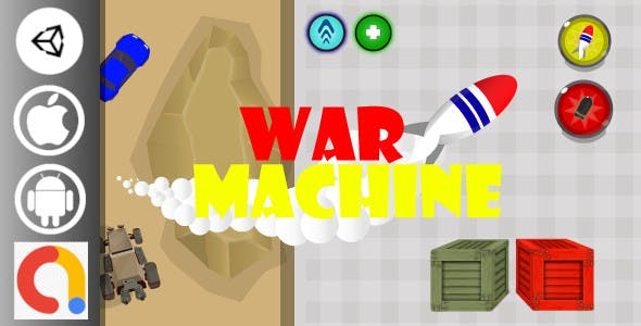 War Machine Car Shooter Unity Game with Admob for Android and iOS
