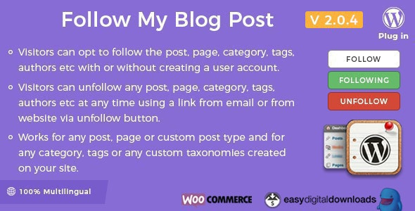 Follow My Blog Post - WordPress / WooCommerce Plugin - CodeCanyon Item for Sale