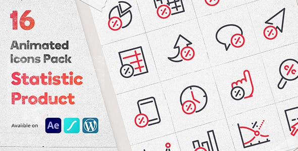 Discount Statistic 16 Animated Icons Pack - Wordpress Lottie Json Animation SVG