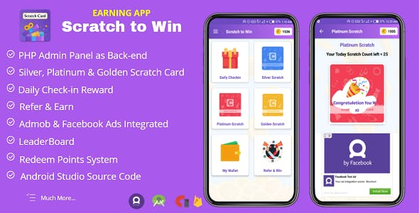 Scratch to Win Android Earning App with Admob & Facebook Ads