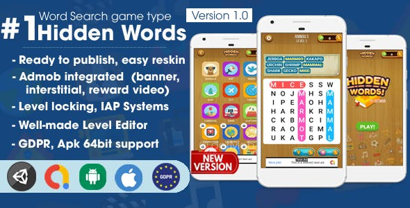 Hidden Words - Word Search Game Unity Template
