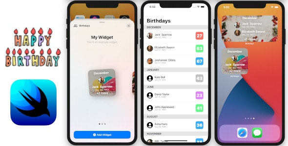 Birthdays App   Full SwiftUI iOS Application and Widget   Contact Birthdays - CodeCanyon Item for Sale