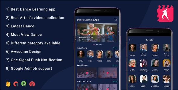 Android Dance App - Video App (youtube channel + live streaming + m3u8 + Movies) - CodeCanyon Item for Sale
