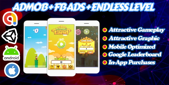Kong Land - Endless Unity Game - Admob + Facebook Ads - Ready To Publish - CodeCanyon Item for Sale