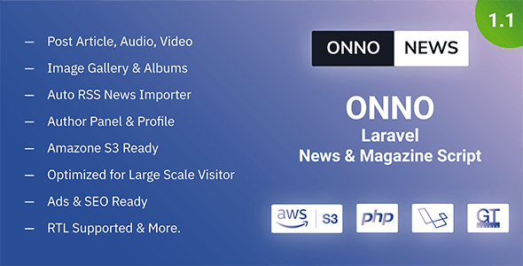 ONNO - Laravel News & Magazine Script - CodeCanyon Item for Sale