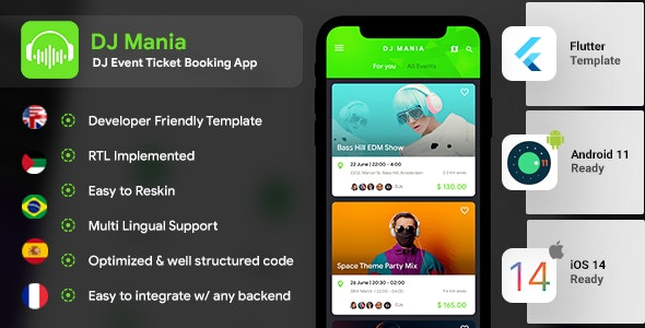 Events App | DJ App | Android + iOS Template | Flutter | Ticket Booking App | DJ Mania