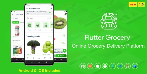 Flutter Multi Vendor Grocery ( Convenience Store, Food, Vegetable, Fresh Fruit, eCommerce, Retail ) - CodeCanyon Item for Sale