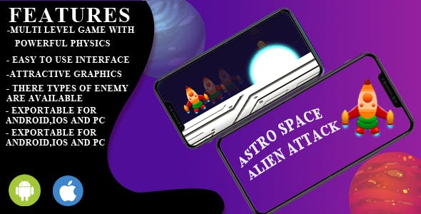 Astro space  alien attack game unity engine