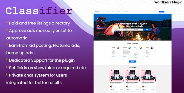 Classifier, classified ads WordPress directory listing plugin