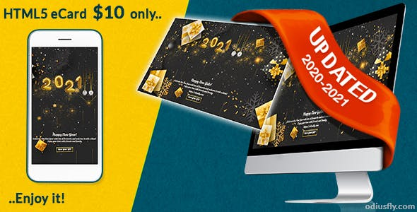 Gold Christmas & Happy New Year Card v1
