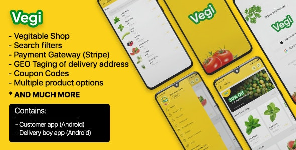 Vegi - The Ultimate Grocery - Food - Milk Ordering app with Delivery boy & Admin : Android / Laravel - CodeCanyon Item for Sale