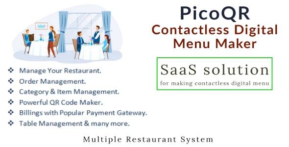 PicoQR - (SaaS) Contactless Digital Restaurant QR Menu Maker - CodeCanyon Item for Sale