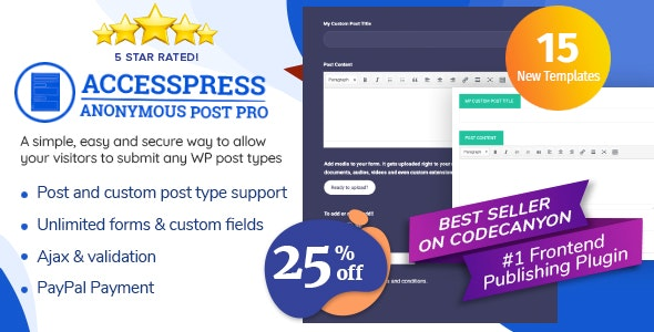 AccessPress Anonymous Post Pro - Frontend Publishing WordPress Plugin - CodeCanyon Item for Sale