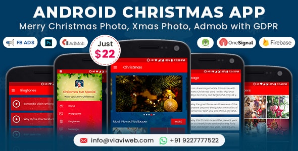 Android Christmas App (Xmas Wallpapers, Ringtones, Messages, Quiz) - CodeCanyon Item for Sale