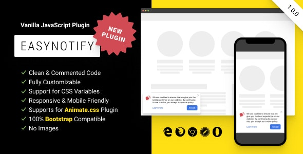 EasyNotify: Lightweight Responsive JS Plugin for Modern Notification - CodeCanyon Item for Sale