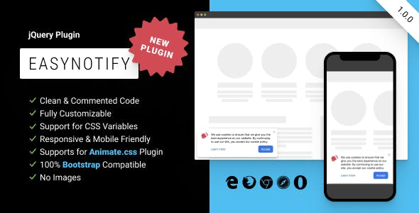 EasyNotify: Lightweight Responsive jQuery Plugin for Modern Notification