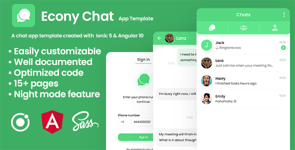 Econy Chat - Chatting App Template - Ionic 5 & Angular 10