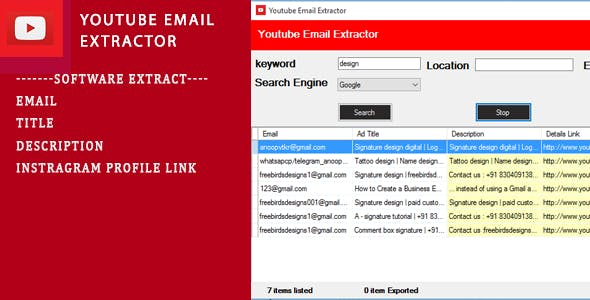 Youtube Email Scrapping Tool