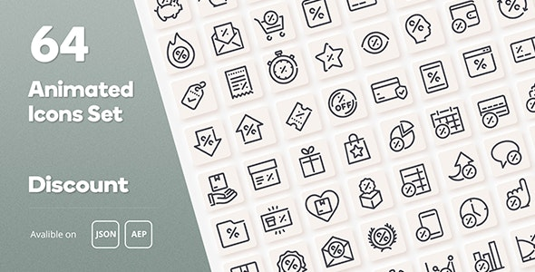 Discount Animated Icons Set - Wordpress Lottie JSON SVG - CodeCanyon Item for Sale