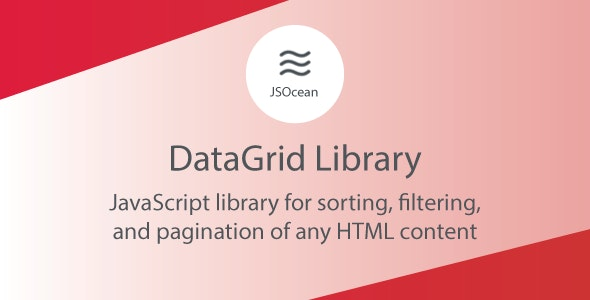 DataGrid - JavaScript Pagination, Sort and Filter - CodeCanyon Item for Sale