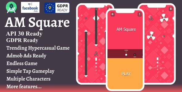 AMSquare : Hypercasual Game + Android Studio + API30 + GDPR + FACEBOOK Ads