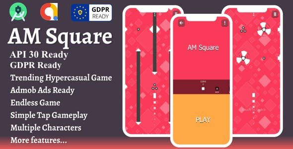 Amsquare : Hypercasual Game + admob ads + reward video + gdpr + android studio + ready to publish
