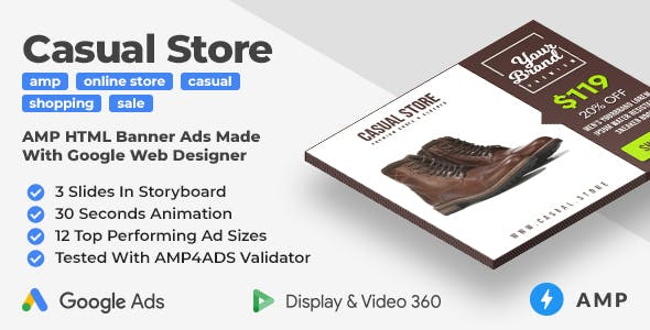 Casual Store - Shopping Animated AMP Banner Ad Templates (GWD, AMP)